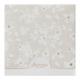Parelmoerkleurige uitnodiging met bloemetjes en platinafolie, de halve maan sluiting is te voorzien van eigen tekst in iedere gewenste kleur en font.