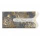 Luxe schuifkaart met sierlijke uitsnede, goudfolie bloemen en strikje.