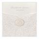 Luxe uitnodiging in sierlijk hoesje met kantpatroon van suède inkt. Wordt geleverd met 4 applicaties: 25, 40, 50, 60.