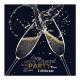 Sprankelende champagnekaart met folie details en feestelijke uitnodigingstekst.