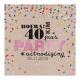 Kaart met kleurige confetti op kraft gedrukt papier met felrozefolie. De zwarte tekst is aanpasbaar.