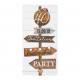 Hippe uitnodiging op steigerhout en speels label. De zwarte tekst is aanpasbaar. Maak het feest compleet! Geleverd met verschillende applicaties: 12.5, 25, 30, 40, 50, 60