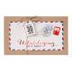 Originele postkaart met details in roodfolie inclusief koordje, label en verschillende inlegvellen.