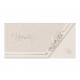 Mooie kaart op parelmoerkleurig papier met bloemen in 2 folies en reliëf voor een extra klassiek tintje.
