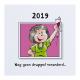 Grappig geïllustreerde uitnodiging om een mooie leeftijd mee te vieren, met zigzag vouwwijze.